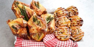 Try this Asparagus and Pancetta Danishes & Cinnamon and Raisin Snails recipe by Chef Monica.This recipe is from the show The Great Australian Bake Off.