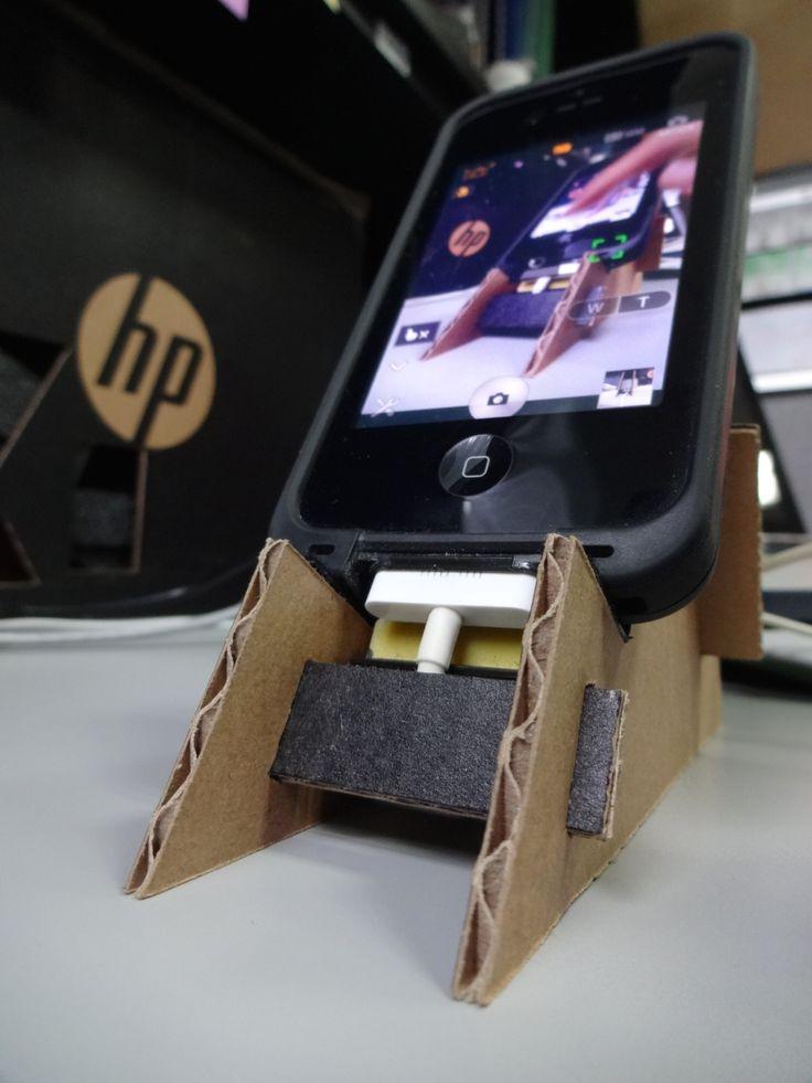 DIY Base para Celular   Diy phone holder, Phone holder, Diy