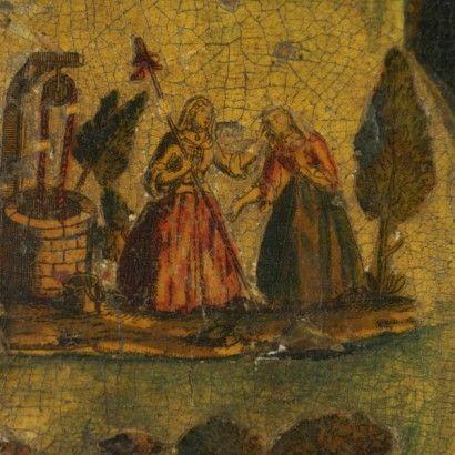 Coppia di dipinti con decoro in arte povera - particolare