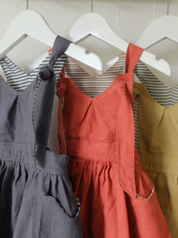You Are Small...100% Linen Pinafore dress with full by YouAreSmall