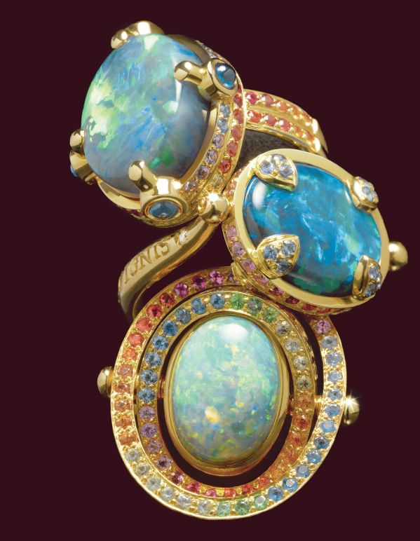 Stunning Lightening Ridge, Australian Black Opal rings from the Celestial Collection. #TempleStClair