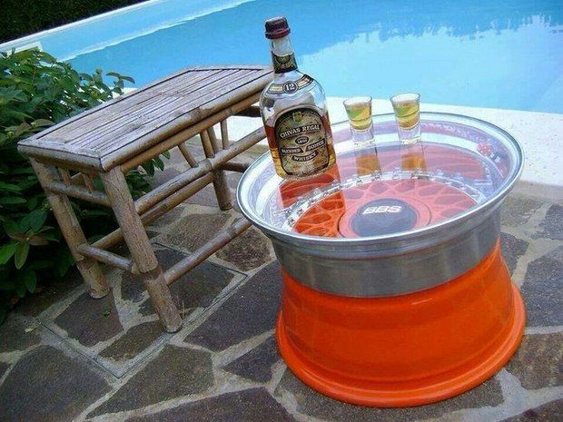 reused car rims for outdoor small bbs glass top rim table with wooden chair decor idea