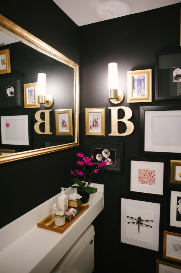 Chic black & gold bathroom decor: http://www.stylemepretty.com/vault/gallery/24152 Photography: Heidi Lau - http://www.heidilau.ca/