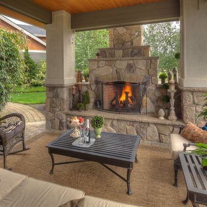 17 best images about outdoor fireplace on pinterest for Outdoor stone fireplace designs
