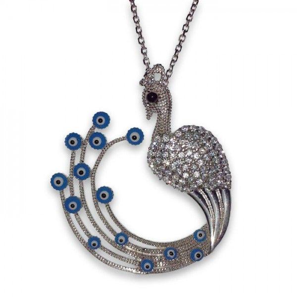 Tavuskuşu gümüş kolye | bk006