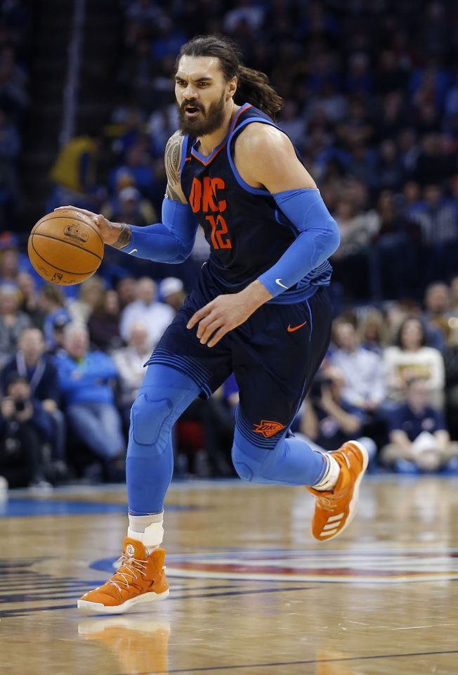 Oklahoma City's Steven Adams (12) dribbles the ball during the NBA basketball game between the Oklahoma City Thunder and the Memphis Grizzlies at the Chesapeake Energy Arena, Sunday, Feb. 11, 2018. Photo by Sarah Phipps, The Oklahoman