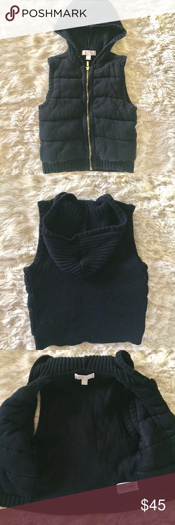 MICHAEL KORS HOODED SWEATER VEST Black MICHAEL KORS hooded sweater vest.  Size XS.  Good condition, pet/smoke free home MICHAEL Michael Kors Jackets & Coats Vests