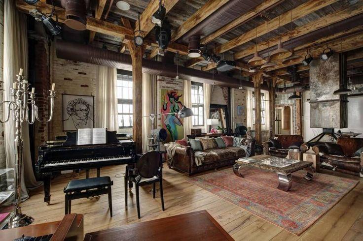 Decoración salón estilo industrial