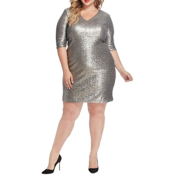 Rebel Wilson X Angels Women's Plus Sequin Bodycon Dress ($198) ❤ liked on Polyvore featuring plus size women's fashion, plus size clothing, plus size dresses, silver, 3 4 sleeve sequin dress, 3/4 sleeve dresses, white cocktail dress, bodycon dresses and white bodycon dresses