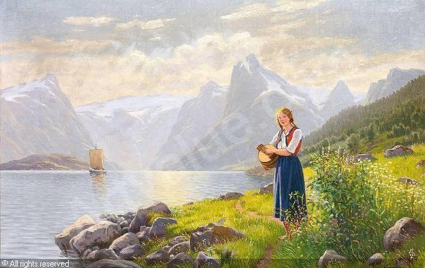 Sonnige Fjordlandschaft; am Ufer junge Sennerin. sold by Auktionshaus Michael Zeller, Lindau, on Saturday, April 21, 2007