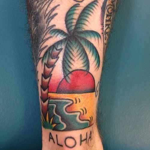 tattoo old school / traditional ink - tropical aloha