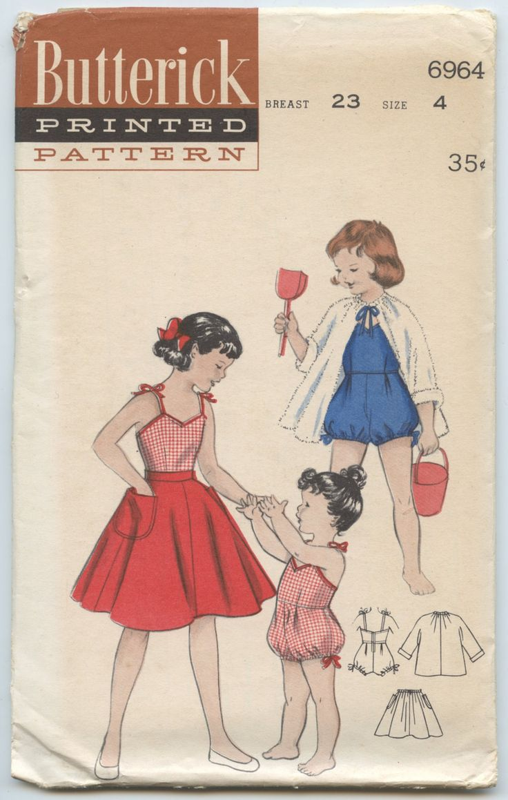 1950's Butterick 6964 Child's Girls Playsuit Bathing Suit with Bloomer Bottom, Skirt, Beach Coat Vintage Sewing Pattern Breast 23 or 24 by GreyDogVintage on Etsy