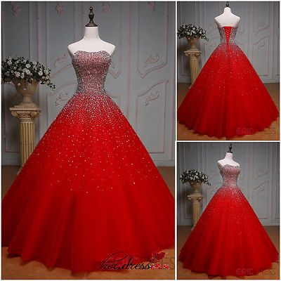 New Red Long Formal Prom Party Pageant Quinceanera Dresses Ball Gown Custom Made