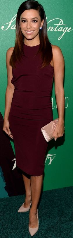 Who made Eva Longoria's red dress, jewelry, nude pumps and satin clutch handbag that she wore in Los Angeles on October 10, 2014