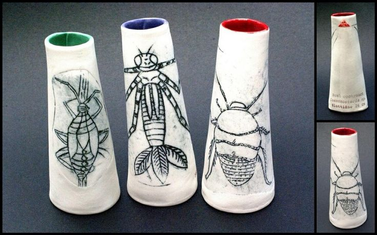 Ellen Appleby Bug vases for Minutiae Exhibition at Rosebed St Gallery, Eudlo.