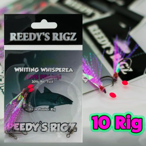 Whiting-Rig-10-Fishing-Tackle-Rig-Size-4-Bream-Lure-Bait-Snapper-Jig-Red