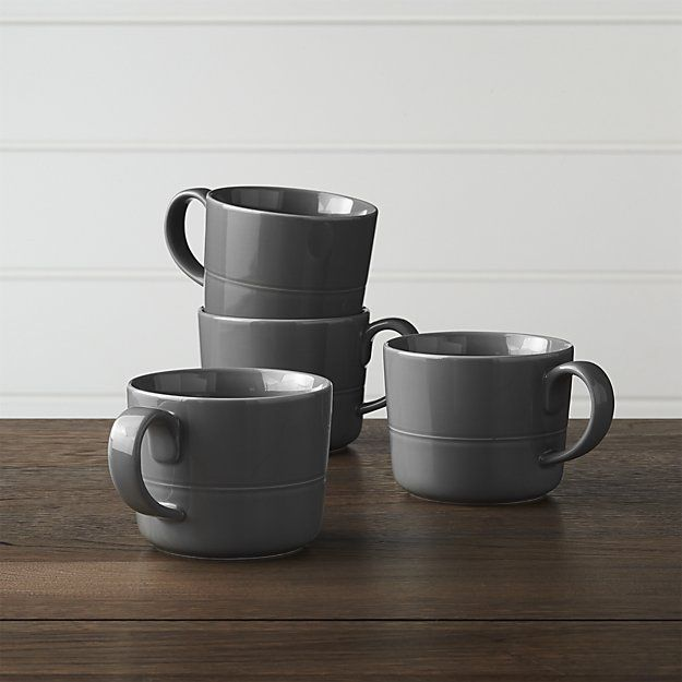 Set of 4 Hue Dark Grey Mugs   Crate and Barrel