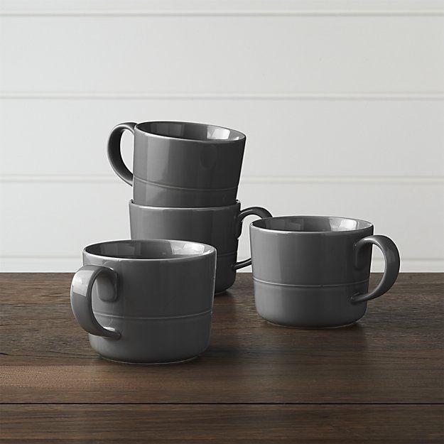 Set of 4 Hue Dark Grey Mugs | Crate and Barrel