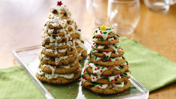These holiday tree cookie stacks are sure to impress—and with chocolate chip cookie mix, they're as easy to make as they are to eat!