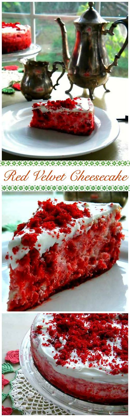 Uniquely beautiful, this Red Velvet Cheesecake is creamy and rich with lots of that yummy red velvet flavor. Pieces of tender red velvet cake are surrounded by melt in your mouth vanilla cheesecake. So unbelievably good! From RestlessChipotle.com