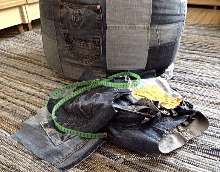 Denim / jeans pouf / bean bag.   https://www.facebook.com/pages/TD-Handmade/1433144776964736?ref=bookmarks