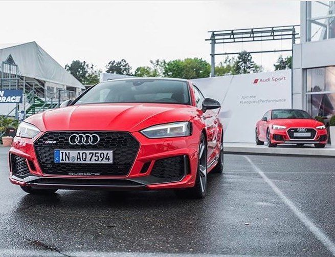 Double RS5 vision: one with black front and one in silver Any preference? At DTM Hockenheimring race   photo @audipocture__  ---- oooo #audidriven - what else ---- . . . . #Audi #RS5 #AudiRS5 #redRS5 #blackoptics #blacklist #dtm ##dtmhockenheim #4rings #quattro #drivenbyvorsprung #audisport #audisportcars #RS5Coupe #carporn