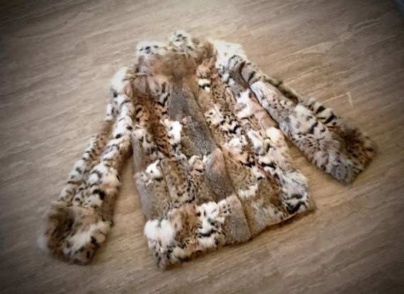 Fur jacket/ real fur/ Cat lynx fur/ natural color