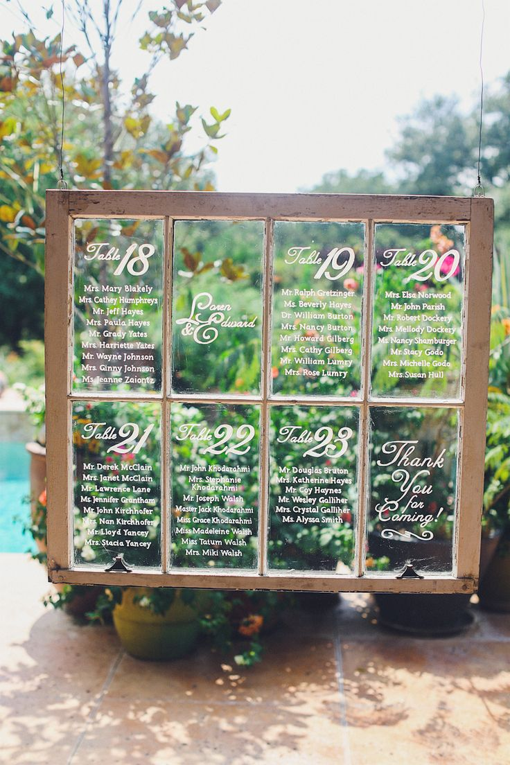 Vintage window pane seating chart | Photography: Christina Carroll Photography - christinacarrollphotography.com  Read More: http://www.stylemepretty.com/southwest-weddings/2014/05/01/rustic-wild-onion-ranch-wedding/
