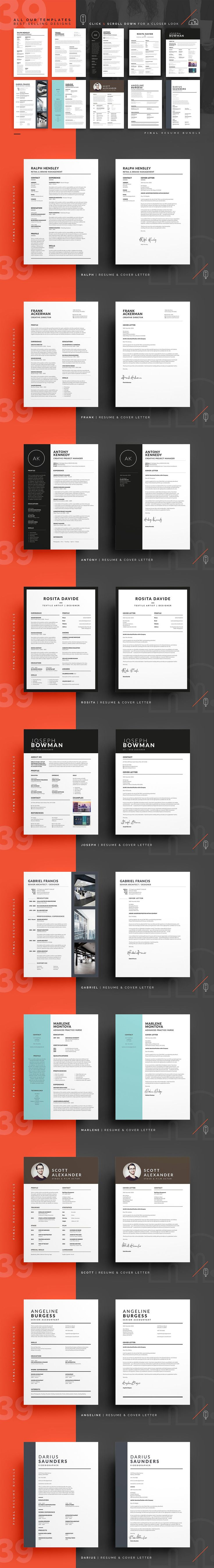 94% OFF - Final Resume/CV Bundle - Resumes - $468 worth of Resume/CV Templates for just $29 - 94% off TODAY! What's Inside The Final Bundle? 39 Resume/CV & Cover Letter Templates and 10 Business Card Templates. Get the job you want with best resume bundle on Creative Market!