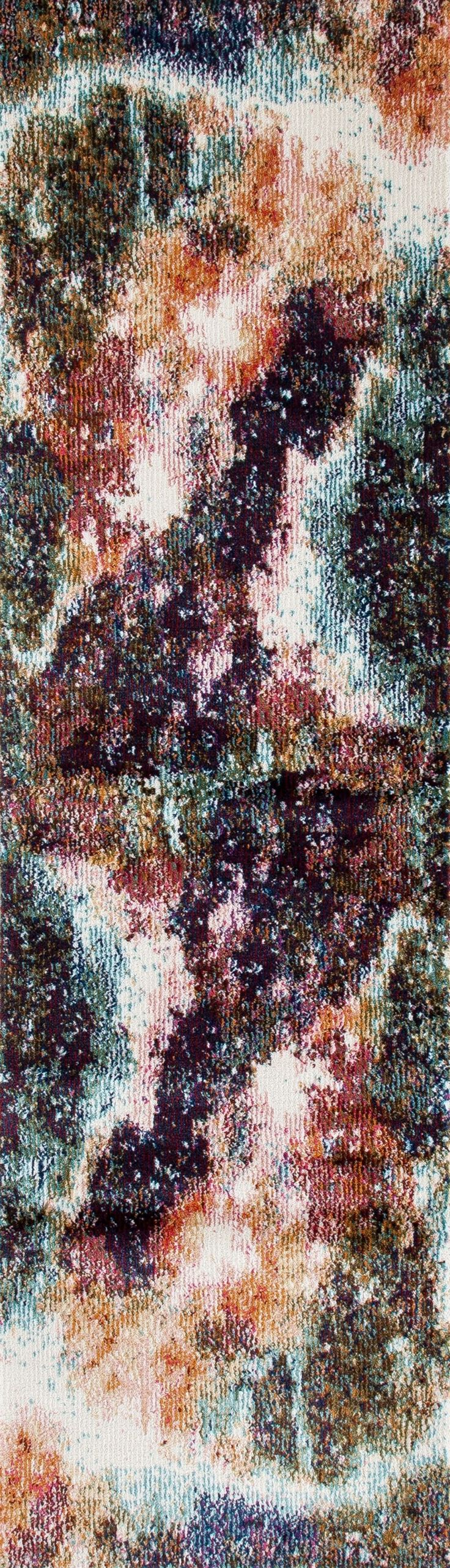 World Rug Gallery Loft Distressed Abstract 22704 Multi 2' X 7'2 Indoor Area Rug Runner