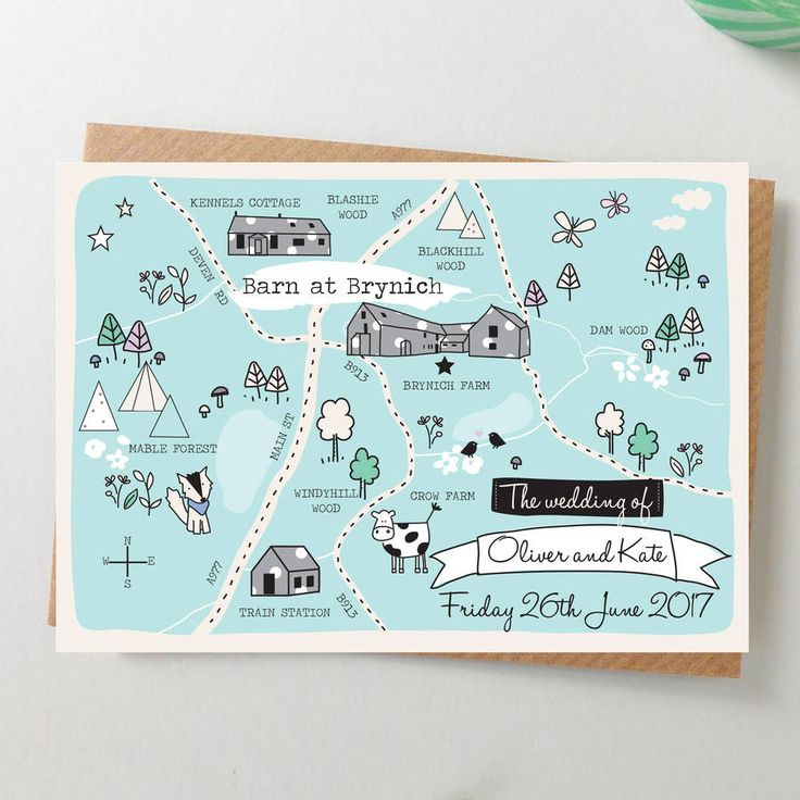 A beautiful bepsoke illustrated map wedding invitation with a fun whimsical feel.Your map will be created with your own wedding locaiton and will include all the key details you specify. It will be designed in the same whimsical illustrated way as the sample shown. Printed on a lovely thick watercolour type card and supplied with a kraft recycled envelope. Your guests names and addresses can be pre-printed on the envelopes for 45p each. The reverse of the invitation is printed with your…