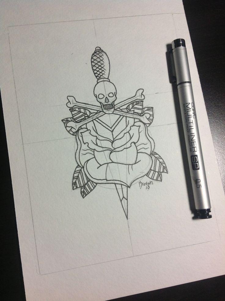 Dagger Tattoo Outline: Pin By Melinda Brown On Skulls