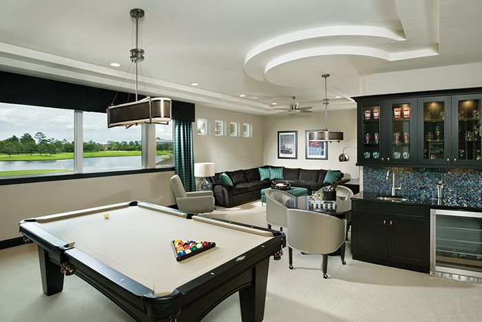This bonus room features a wet bar, pool table and wide screen tv. Perfect for entertaining! See the full plan at http://arhomes.us/asheville1264f