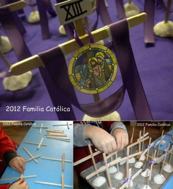 Se puede representar un Via Crucis para niños o las estaciones de la Cruz, de una forma muy sencilla, aquí podemos ver una hermosa propuesta de nuestros amigos de Familia Católica. La verdad es que me ha parecido muy original...
