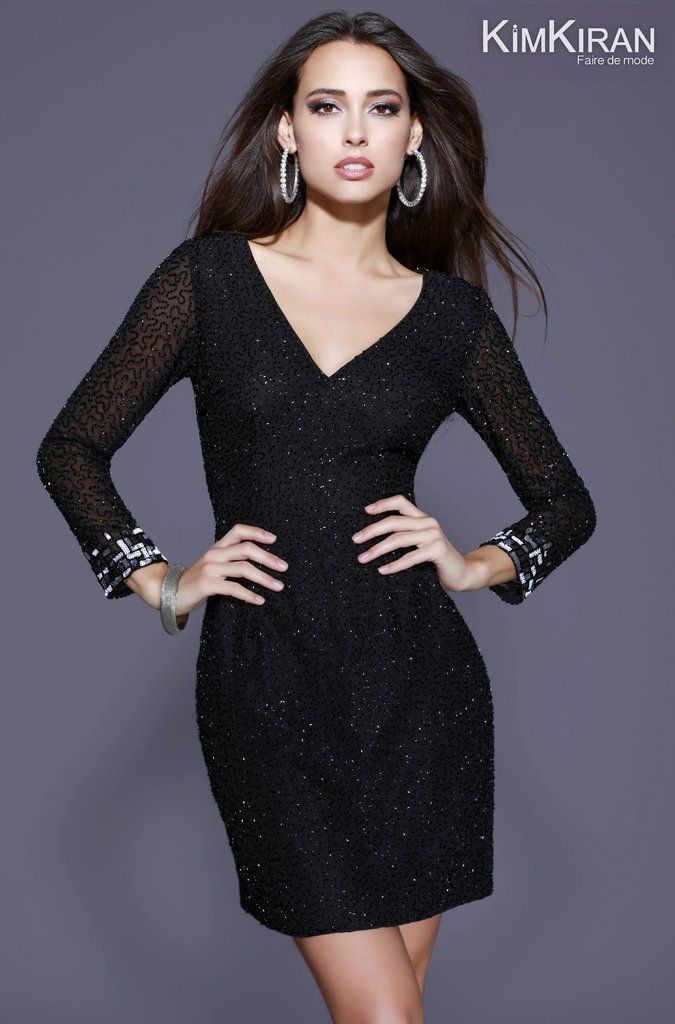 0316cbf88d53 21248 Fully Sequin Sheer Sleeve Cocktail Dress | The Party Dress ...