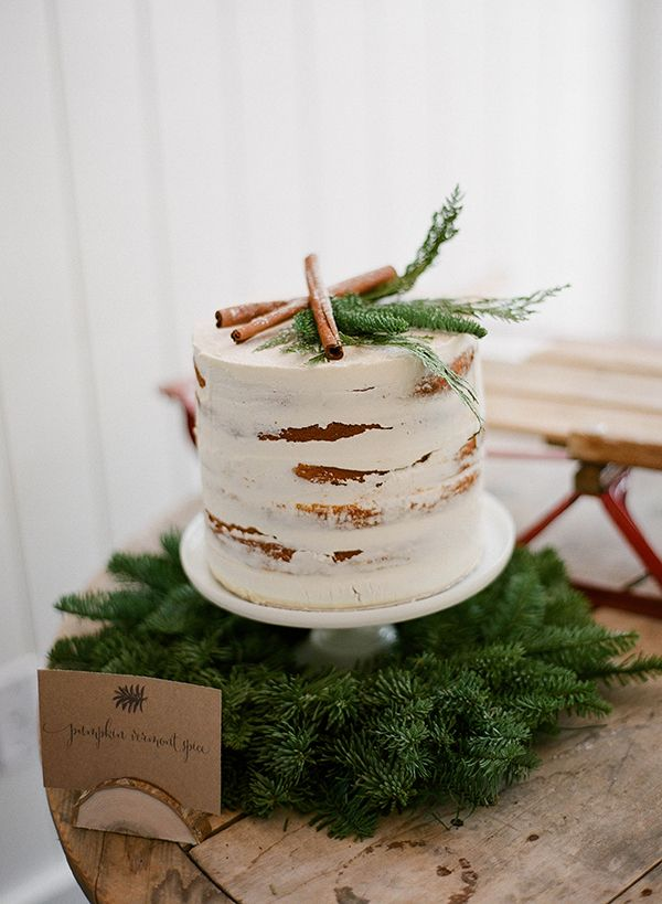 Petite Wedding Cake Topped with Cinnamon Sticks   Jacque Lynn Photography and Michelle Leo Events   Enchanting Woodland Wedding Shoot with Rustic Winter Details