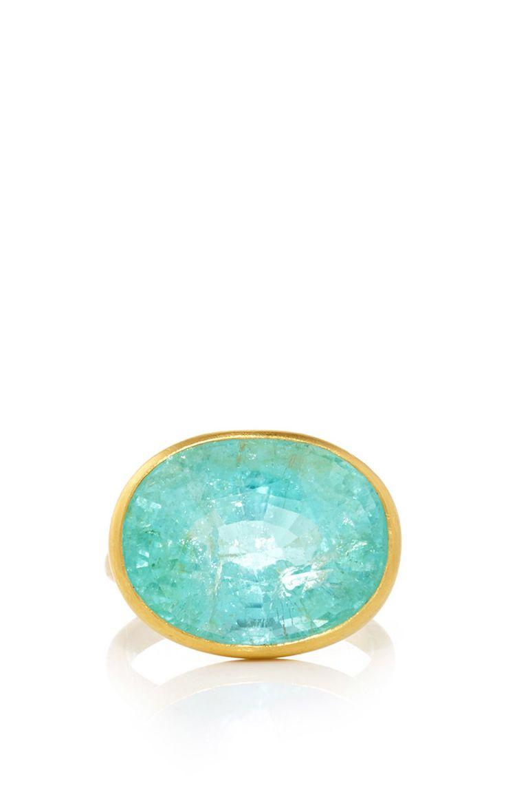 22K Yellow Gold and Paraiba Princess Ring by Marie-Hélène de Taillac for Preorder on Moda Operandi