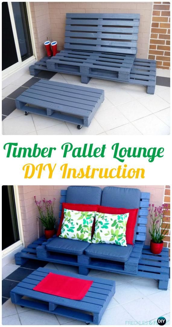 DIY Timber Wood Pallet Lounge Instructions - Outdoor Patio #Furniture Ideas Instructions