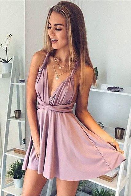 A-Line Homecoming Dresses,Deep V-Neck Prom Dresses,Sexy Homecoming Dresses,Short Prom Dresses