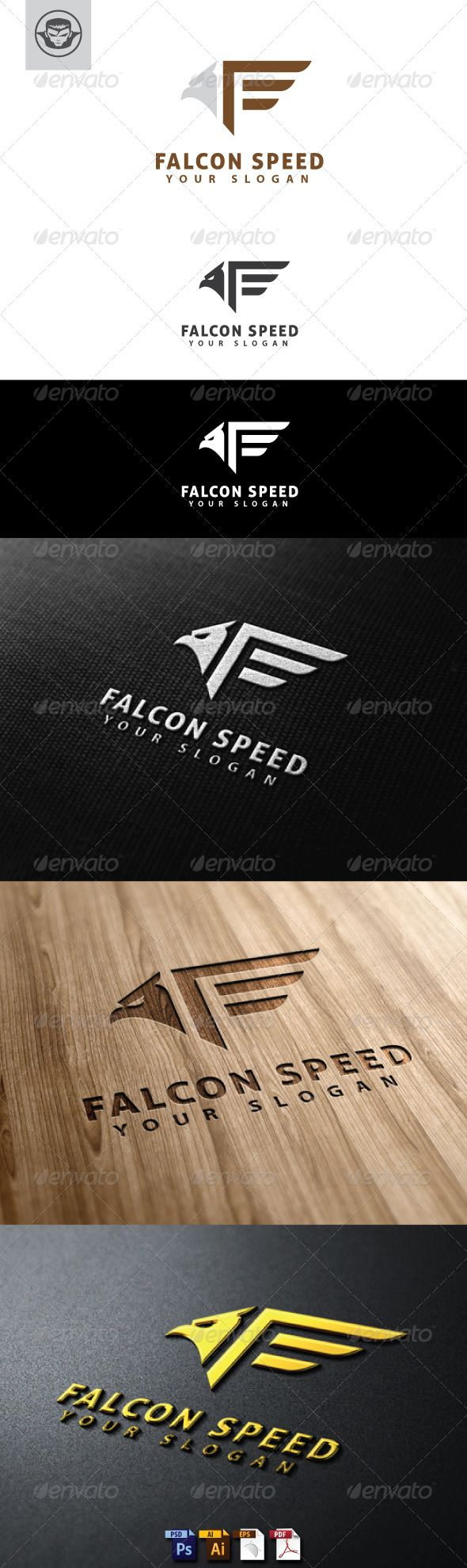 Falcon Speed  Logo Design Template Vector #logotype Download it here: http://graphicriver.net/item/falcon-speed-logo-template/4748436?s_rank=502?ref=nexion