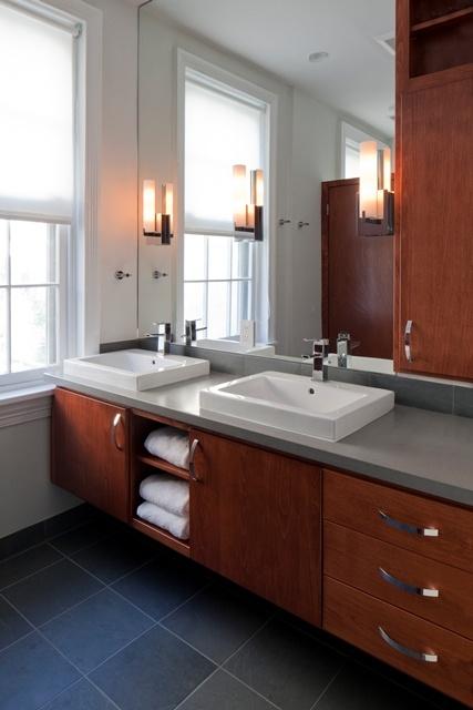 simple roller shade used in master bathroom.   Interior design for philadelphia bathroom by Amy Cuker of down2earth interior design.