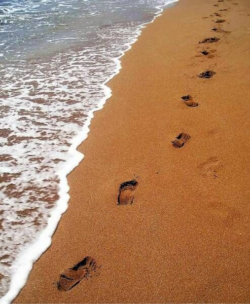 """The Lord replied, """"My precious, precious child, I love you and would never leave you. During your times of trial and suffering when you see only one set of footprints, it was then that I carried you."""""""