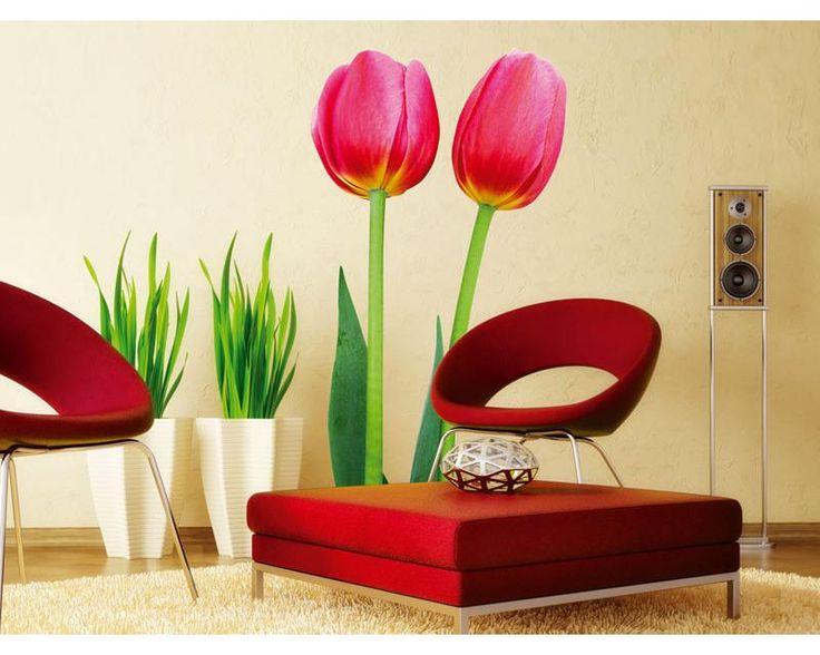 Maxi nálepky na stenu - červené tulipány   www.dimex.sk