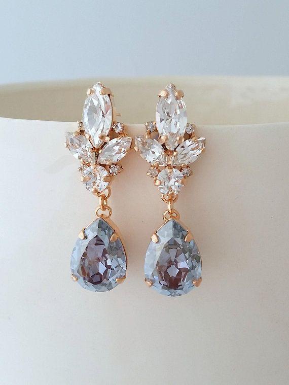 Dusty Blue Earrings Wedding Light Bridal Bright Chandelier In 2018