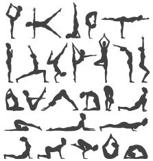 Yoga Poses Collection Set Black Icons Isolated on White vector art illustration