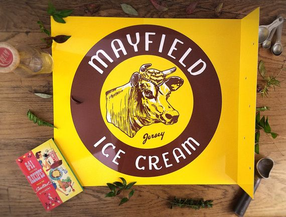 Vintage Flange Sign Mayfield Ice Cream Sign Retro Mid by harbor17