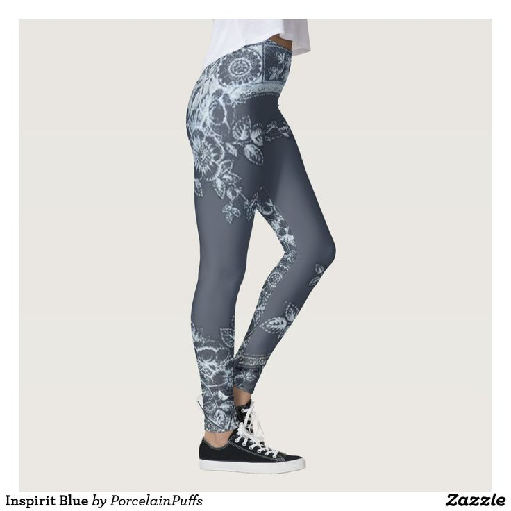 FASHION - PANTS - ZAZZLE - PORCELAIN PUFFS - INSPIRIT BLUE LEGGINGS