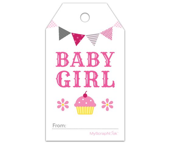 Download this pink cupcake baby girl gift tag and other free printables from myscrapnookcom for Printable baby shower tags