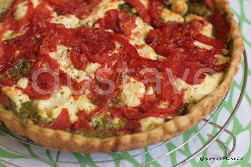 Tarte à la tomate, au chèvre frais et au pistou