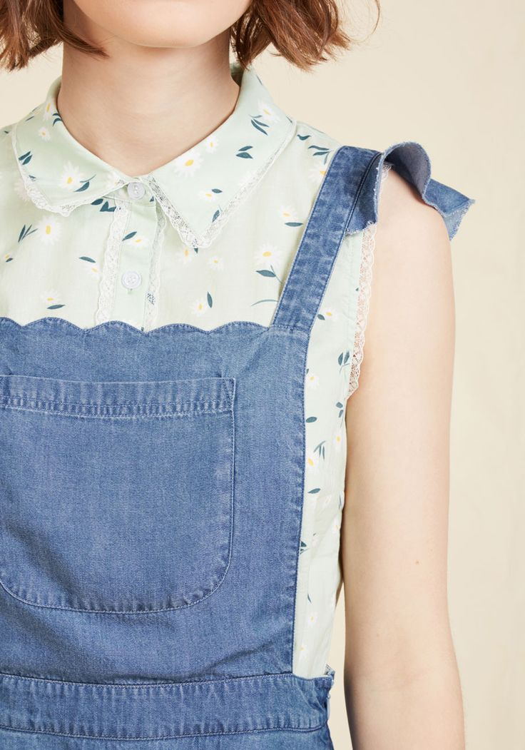 A Nudge of Nostalgia Denim Jumper. Get the feeling you're the embodiment of retro style while flaunting this denim jumper from our ModCloth namesake label? #blue #modcloth